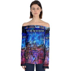 Doctor Who Quotes,trust Me Im Doctor Off Shoulder Long Sleeve Top by Bejoart