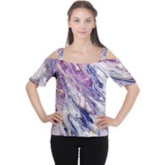 Marble Pattern Texture Cutout Shoulder Tee