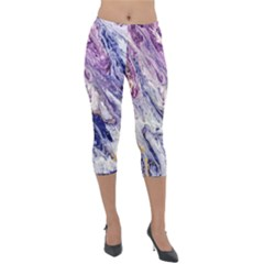 Marble Pattern Texture Lightweight Velour Capri Leggings