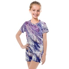Marble Pattern Texture Kids  Mesh Tee And Shorts Set