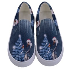 Christmas, Cute Giraffe With Bird Kids  Canvas Slip Ons