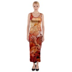 Flower Power, Colorful Floral Design Fitted Maxi Dress