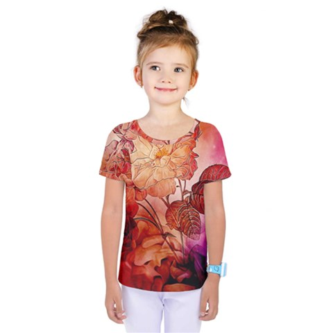 Flower Power, Colorful Floral Design Kids  One Piece Tee by FantasyWorld7