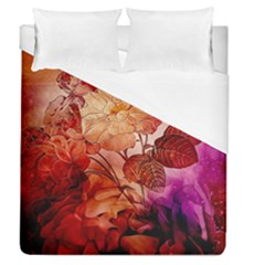 Flower Power, Colorful Floral Design Duvet Cover (queen Size) by FantasyWorld7