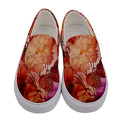 Flower Power, Colorful Floral Design Women s Canvas Slip Ons