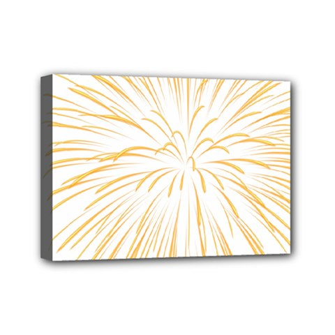 Yellow Firework Transparent Mini Canvas 7  X 5  (stretched)
