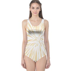 Yellow Firework Transparent One Piece Swimsuit