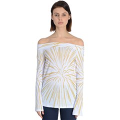 Yellow Firework Transparent Off Shoulder Long Sleeve Top