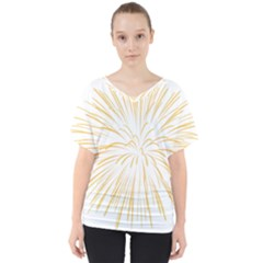 Yellow Firework Transparent V Neck Dolman Drape Top
