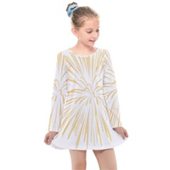 Yellow Firework Transparent Kids  Long Sleeve Dress
