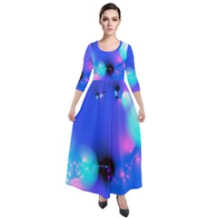 Love In Action, Pink, Purple, Blue Heartbeat Quarter Sleeve Maxi Velour Dress