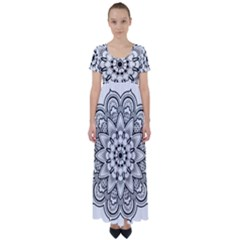 Star Flower Mandala High Waist Short Sleeve Maxi Dress