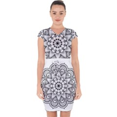 Star Flower Mandala Capsleeve Drawstring Dress