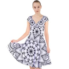 Star Flower Mandala Cap Sleeve Front Wrap Midi Dress