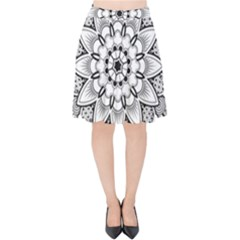 Star Flower Mandala Velvet High Waist Skirt