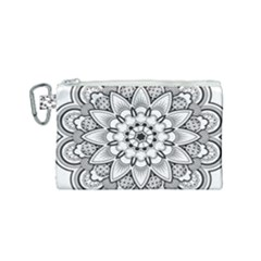 Star Flower Mandala Canvas Cosmetic Bag (small) by Jojostore