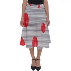 Red Dot Bubbles Perfect Length Midi Skirt by AnjaniArt