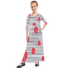 Red Dot Bubbles Kids  Quarter Sleeve Maxi Dress by AnjaniArt
