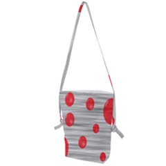 Red Dot Bubbles Folding Shoulder Bag by AnjaniArt