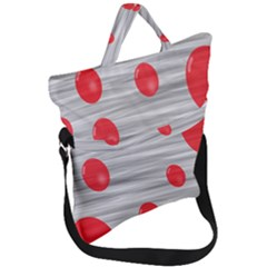 Red Dot Bubbles Fold Over Handle Tote Bag by AnjaniArt