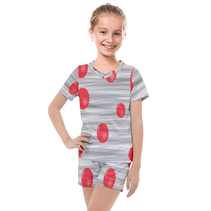 Red Dot Bubbles Kids  Mesh Tee and Shorts Set
