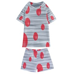 Red Dot Bubbles Kids  Swim Tee And Shorts Set
