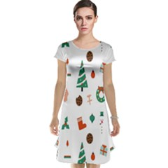 Christmas Tree Pattern Material Cap Sleeve Nightdress