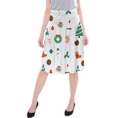 Christmas Tree Pattern Material Midi Beach Skirt