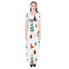 Christmas Tree Pattern Material Short Sleeve Maxi Dress by AnjaniArt