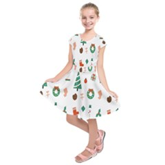 Christmas Tree Pattern Material Kids  Short Sleeve Dress