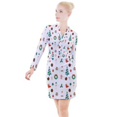 Christmas Tree Pattern Material Button Long Sleeve Dress
