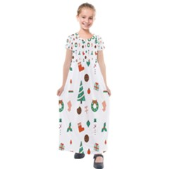 Christmas Tree Pattern Material Kids  Short Sleeve Maxi Dress by AnjaniArt
