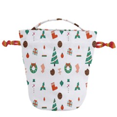 Christmas Tree Pattern Material Drawstring Bucket Bag by AnjaniArt