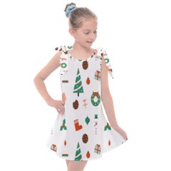 Christmas Tree Pattern Material Kids  Tie Up Tunic Dress