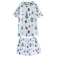 Christmas Tree Pattern Material Kids  Swim Tee And Shorts Set