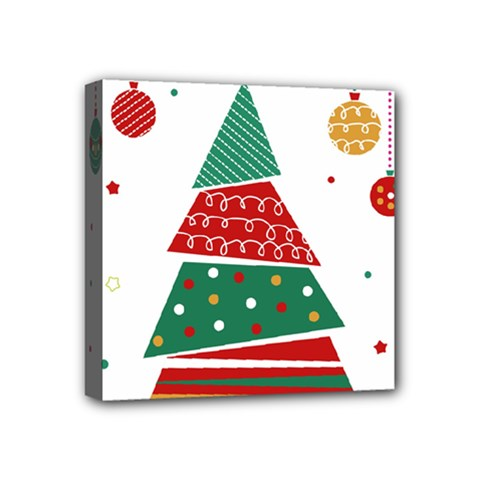 Christmas Tree Decorated Mini Canvas 4  X 4  (stretched)