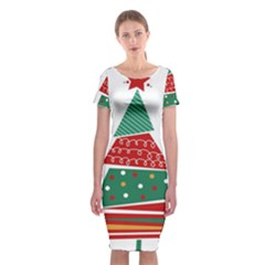 Christmas Tree Decorated Classic Short Sleeve Midi Dress