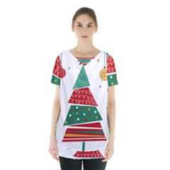 Christmas Tree Decorated Skirt Hem Sports Top