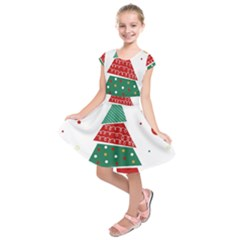Christmas Tree Decorated Kids  Short Sleeve Dress