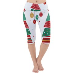 Christmas Tree Decorated Lightweight Velour Cropped Yoga Leggings