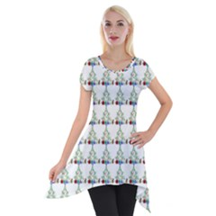 Christmas Tree Pattern Short Sleeve Side Drop Tunic