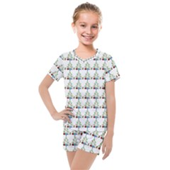 Christmas Tree Pattern Kids  Mesh Tee And Shorts Set by AnjaniArt