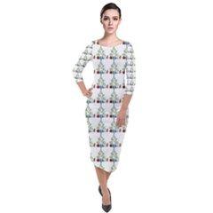 Christmas Tree Pattern Quarter Sleeve Midi Velour Bodycon Dress by AnjaniArt