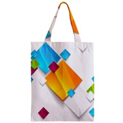 Colorful Abstract Geometric Squares Zipper Classic Tote Bag