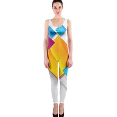 Colorful Abstract Geometric Squares One Piece Catsuit
