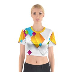 Colorful Abstract Geometric Squares Cotton Crop Top