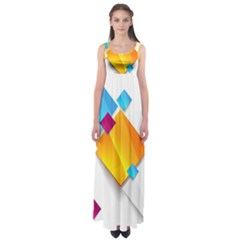Colorful Abstract Geometric Squares Empire Waist Maxi Dress