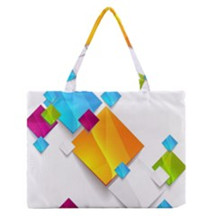 Colorful Abstract Geometric Squares Zipper Medium Tote Bag