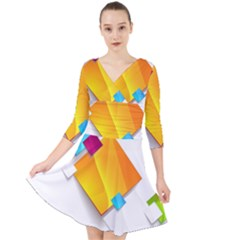 Colorful Abstract Geometric Squares Quarter Sleeve Front Wrap Dress