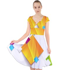Colorful Abstract Geometric Squares Cap Sleeve Front Wrap Midi Dress